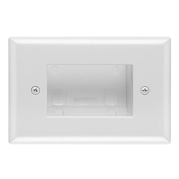DataComm 45-0008-WH Recessed Easy Mount Low-Voltage Cable Wall Plate - White