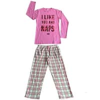 Women Cotton Top & Fleece Lined Pants Pajamas Set (Pink)