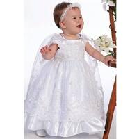 Angels Garment White Organza Overlay Cape Baptismal Dress Girl 6M-5