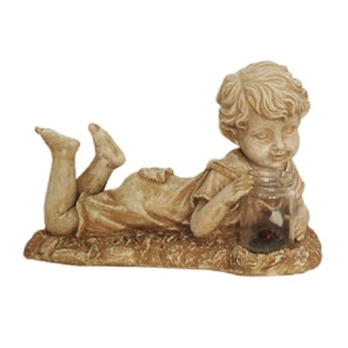 """14"""" Distressed Almond Brown Lounging Boy Solar Powered LED Lighted Outdoor Patio Garden Statue"""