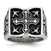 Stainless Steel Antiqued Cross Ring (10 mm)