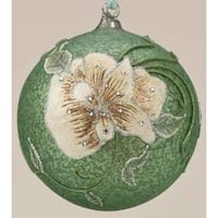 "6.25"" Speckled Green Glittered Flower Glass Ball Christmas Ornament"