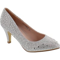 Anna Beckham-10 Women Glittered Fashion Stiletto Pointed Toe Heel