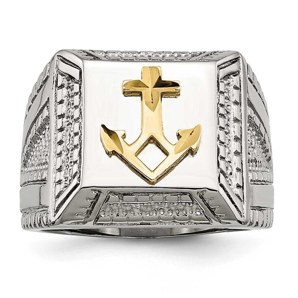 Chisel Stainless Steel Polished Yellow IP-plated with Sterling Silver Anchor Ring (17 mm)