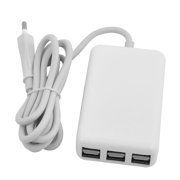Unique Bargains AC 100-240V 3.5mm Plug 20W 6 Ports Round Edge USB Power Adapter Charger White