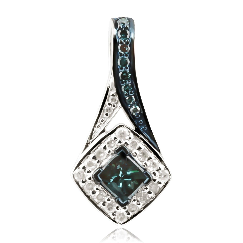 Attractive 0.44 Carat Princess & Round Cut Blue Diamond With Diamond Designer Pendant - White - Thumbnail 0