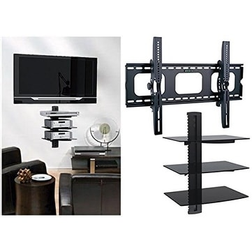 2xhome tv wall mount with 3 shelves up to 85 inches tv - Tv wall mount with shelf ...
