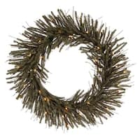 """30"""" Pre-Lit Vienna Twig Artificial Christmas Wreath - Clear Lights"""