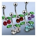 """316L Steel Navel Belly Button Ring with Rodium Plated Brass CZ Set Cherry - 14GA 3/8"""" Long (Sold Ind.) - Thumbnail 0"""