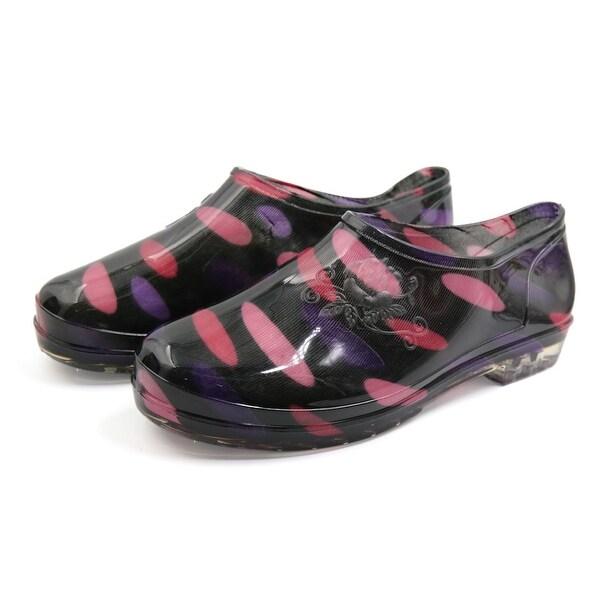 Black Purple US 6 Slip Resistant Waterproof Rain Boots Wellies Ankle Shoes