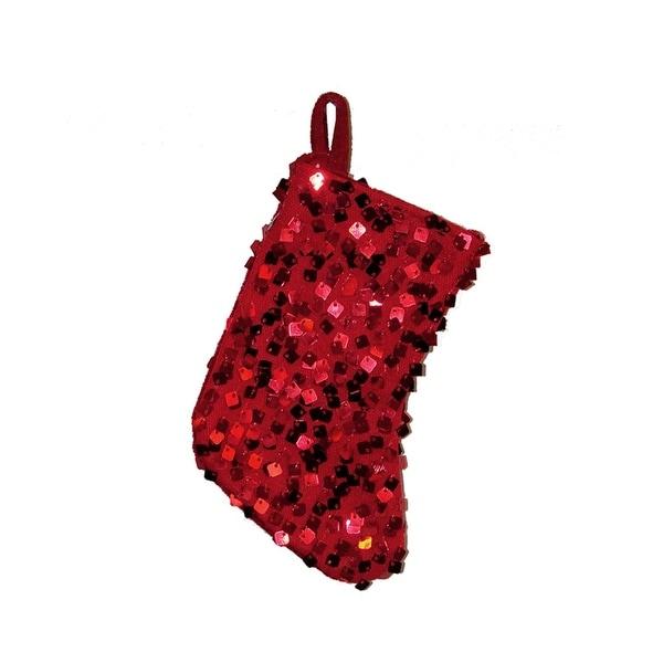 "8"" Shiny Metallic Red Sequined Mini Christmas Stocking"