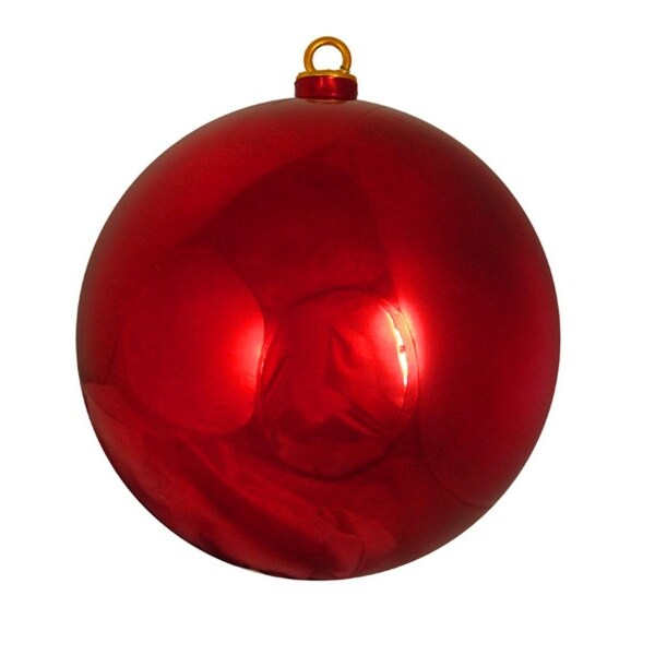 """Shiny Red Hot Commercial Shatterproof Christmas Ball Ornament 12"""" (300mm)"""