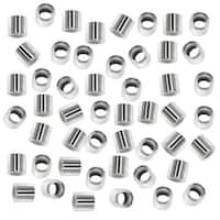 Tube Crimp Beads, 2.5mm Diameter 1.5mm Long, 50 Pieces, Silver Plated
