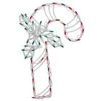 """18"""" Lighted Candy Cane with Holly Christmas Window Silhouette Decoration (Pack of 4)"""