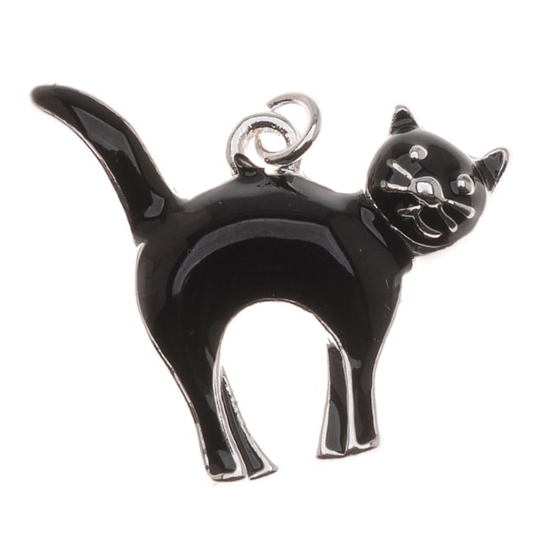 Silver Plated With Enamel Halloween Black Cat Charm Facing Right (1)