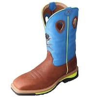 Twisted X Work Boots Mens Cowboy Pull On Brown Oiled Blue
