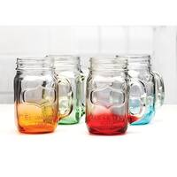 Palais Glassware Mason Jar Tumbler Mug with Handle - 17.5 Ounces - Set of 4 (Bottom Sprayed Green/Blue/Orange/Red)