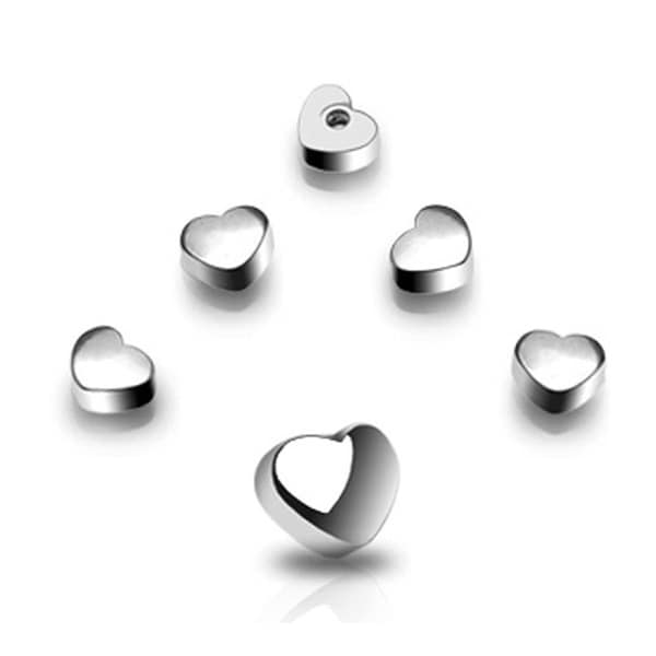 10 Piece Pack of Threaded Steel Heart Package - 14GA (6mm Ball)