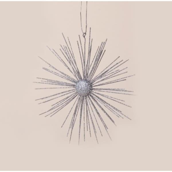 "7.75"" Celebration Silver Glitter Starburst Christmas Ornament"