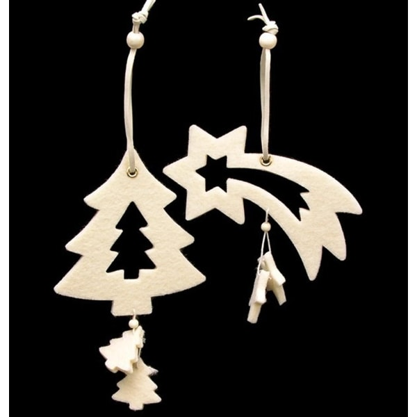 Club Pack of 18 Ivory White Tree And Shooting Star Felt Ornaments