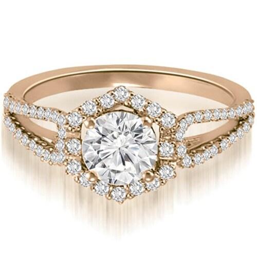 1.10 cttw. 14K Rose Gold Halo Round Cut Diamond Split-Shank Engagement Ring