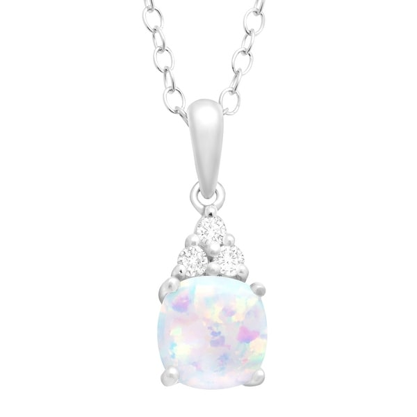 """Cushion-Cut Created Opal and White Topaz Pendant Necklace in Sterling Silver, 18"""""""