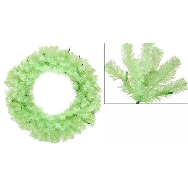 "36"" Pre-Lit Chartreuse Green Wide Cut Artificial Christmas Wreath - Green Lights"