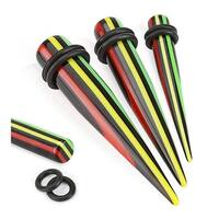 Multi Striped Print Solid Acrylic Taper with O-Ring (Sold Individually)
