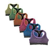 Women's 6 Pack Multi Color Stripe Grey Heather Base Athletic Sports Yoga Bras