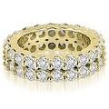 4.40 cttw. 14K Yellow Gold Round Diamond Two Row Eternity Ring - Thumbnail 0
