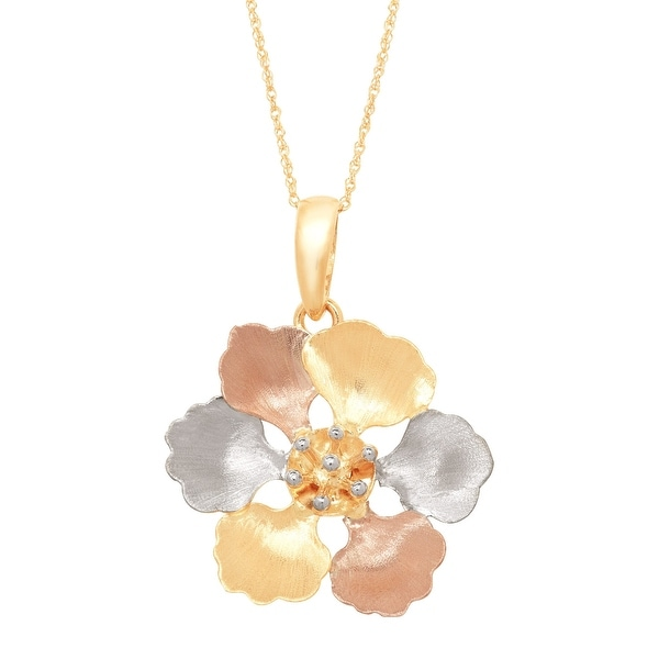Eternity Gold Brushed Flower Pendant in 14K Yellow & Rose Gold with Rhodium Plate - three-tone