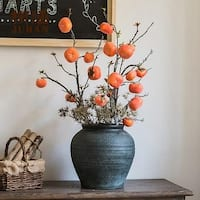 """G Home Collection Rustic Artificial Persimmon Fruit Stem 43"""" Tall"""