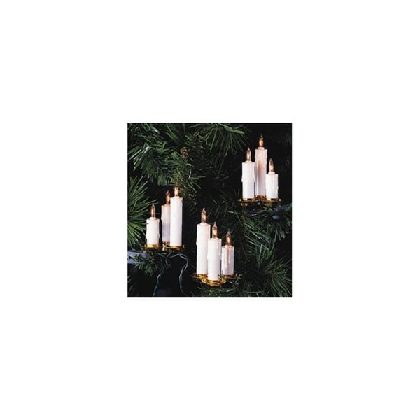 Set of 15 White Dripping Candle Clip-On Christmas Lights - Clear Lights