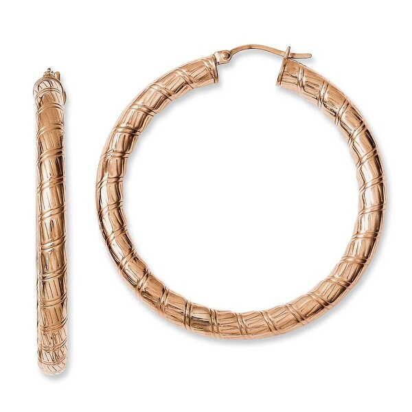 Chisel Stainless Steel Rose IP-plated Textured Hollow Hoop Earrings