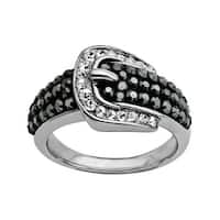 Crystaluxe Buckle Ring with Black and White Swarovski Crystals in Sterling Silver