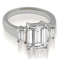1.50 cttw. 14K White Gold Three-Stone Emerald Cut Diamond Engagement Ring