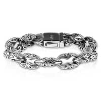 "Casted Tribal Pattern Linked Large Stainless Steel Bracelet - 8.5"" (Sold Ind.)"