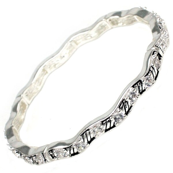 """Antique Silver Plated CZ Wave Style Brass Bangle - Inside Circumference: 6"""""""