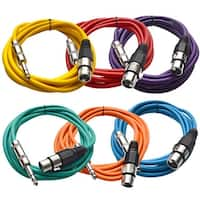 "SEISMIC (6) Color 1/4"" TRS  XLR Female 10' Patch Cables"