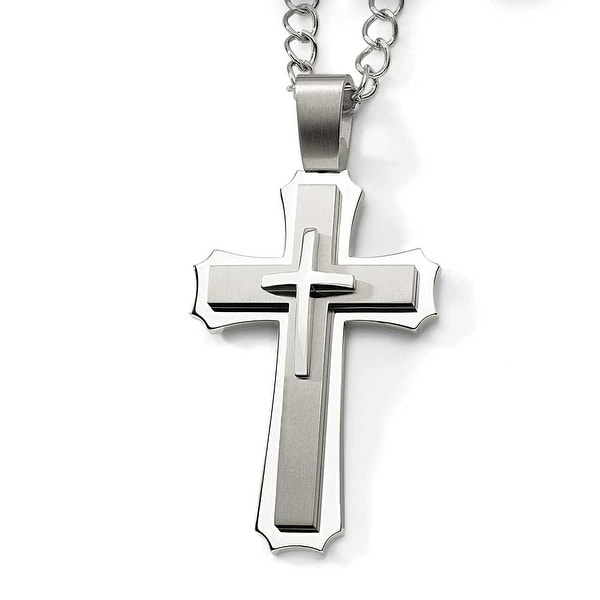 Chisel Stainless Steel Cross Pendant Necklace (8 mm) - 24 in
