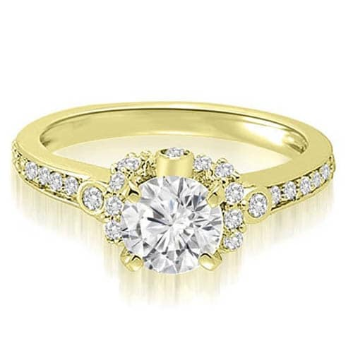 1.07 cttw. 14K Yellow Gold Round Cut Diamond Engagement Ring