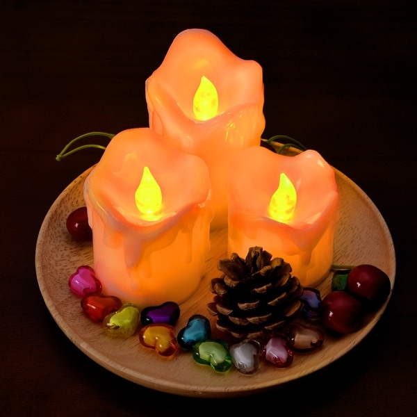 3PCS/set LED Flameless Candles Battery Operated Smokeless Wax Dripped for Party Amber Yellow