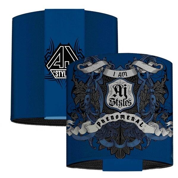 Aj Styles Crest2 I Am Phenomenal Blues Black Grays Elastic Wrist Cuff
