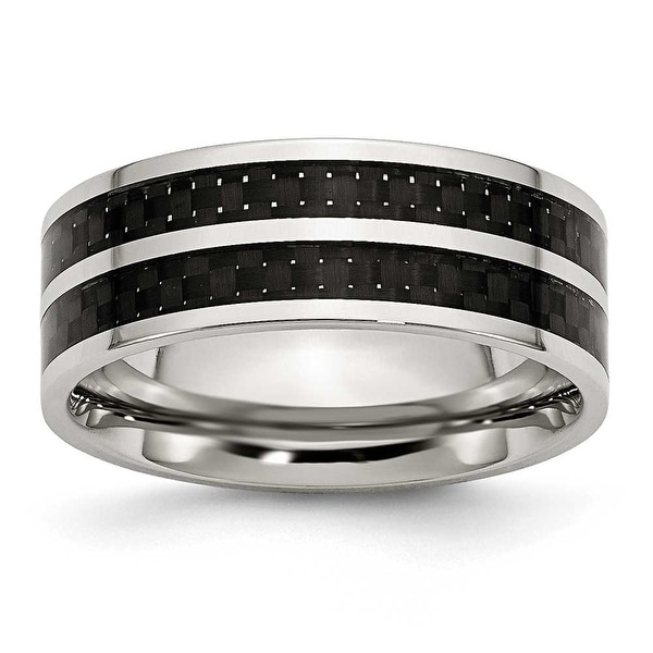 Chisel Stainless Steel 8mm Double Row Black Carbon Fiber Inlay Polished Band