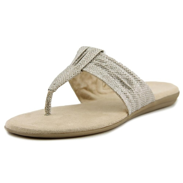 Aerosoles Chlairvoyant Women Open Toe Canvas Gold Thong Sandal