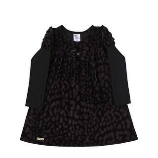 Toddler Girl Long Sleeve Dress Polka Dot Little Girl Pulla Bulla 1-3 Years Black