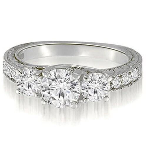 1.40 cttw. 14K White Gold Three-Stone Trellis Round Cut Diamond Engagement Ring