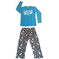 Women Cotton Top & Fleece Lined Pants Pajamas Set (Blue)