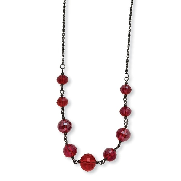 Black IP Red Crystal Beaded Necklace - 16in