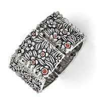 Chisel Stainless Steel Polished/Antiqued Red CZ Stretch Bracelet
